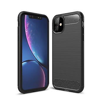 Apple iPhone 11 Pro Max TPU Case Carbon Fiber Optics Brushed Protective Case Grey