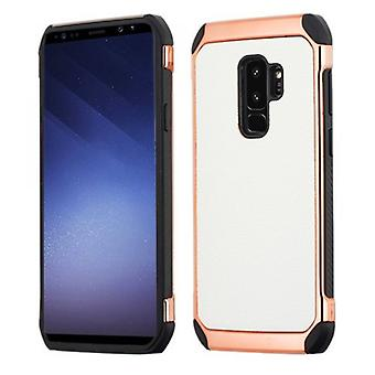 SAMSUNG GALAXY S9 PLUS ASMYNA WHITE LYCHEE GRAIN/(ROSE GOLD PLATING)/BLACK ASTRONOOT CASE