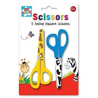 Pack 2 Animal Print Pattern Childrens Kids Safety Scissors