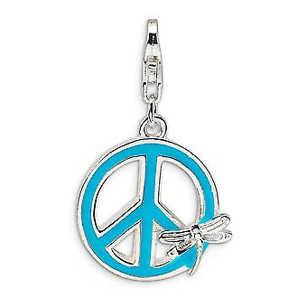 925 Sterling Silver Polished Rhodium banhado Fancy Lobster Closure Enamel Peace Sign with Dragonfly With Lobster Clasp Ch