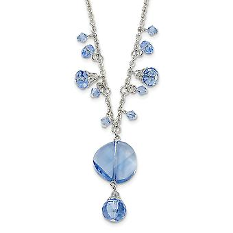 Silver tone Fancy Lobster Closure Light Blue Crystal Drop 16 Inch With ext Necklace Jewelry Gifts for Women