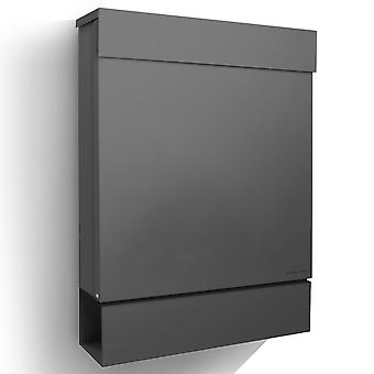 Letterman M anthracite grey (RAL 7016) RADIUS design mailbox with newspaper box, post box dark grey postbox above