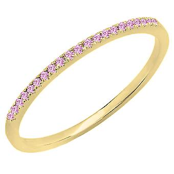 Dazzlingrock Collection 10K Round Pink Sapphire Ladies Anniversary Wedding Band Stackable Ring, Or Jaune
