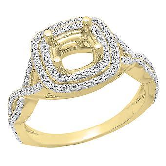 Dazzlingrock Collection 0,50 Carat (CTW) 14K runde diamant semi Mount brude Forlovelses ring 1/2 CT, gul guld