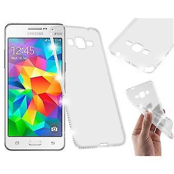 Cadorabo Case voor Samsung Galaxy GRAND PRIME - Case in TRANSPARENT WHITE - TPU Siliconen case in Rhinestone Design - Siliconen case beschermhoes Ultra Slim Soft Back Cover Case Bumper