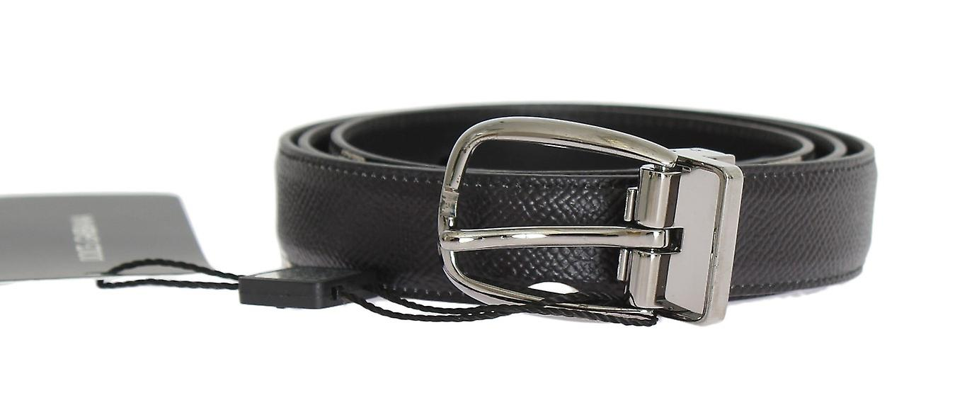 Black Patterned Leather Shiny Silver Buckle Belt