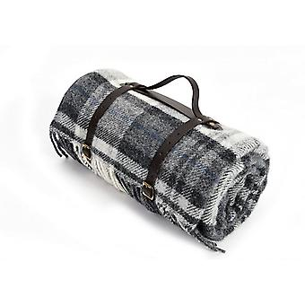 Tweedmill Polo Picnic Rug With Waterproof Backing & Leather Straps - Cottage Grey/Black