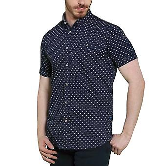 Duke D555 Mens Big Tall Kingsize Barrington Short Sleeve Shirt Top - Navy