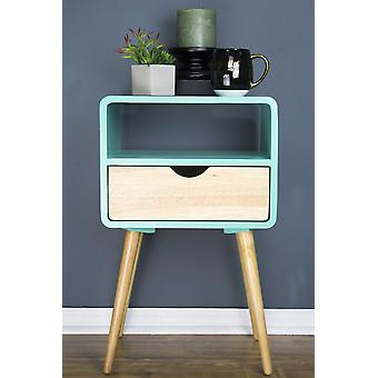 "16"" X 12"" X 26"" Aqua MDF  Wood End Table with  Drawer and  Shelf"