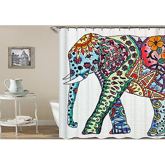 Colorful Ornate Elephant Painting Shower Curtain