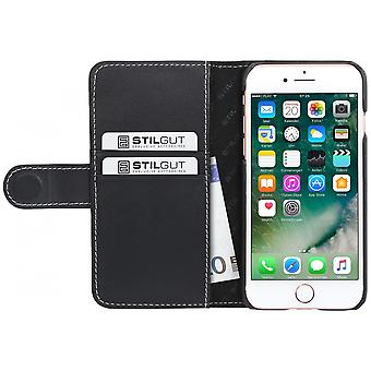 Case For iPhone 8 / IPhone 7 Black Nappa Card Holder In True Leather
