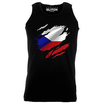 Reality glitch torn czech republic flag mens vest