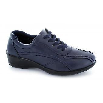 Comfort Plus Lacey Ladies Faux Leather Wide Fit Shoes Navy