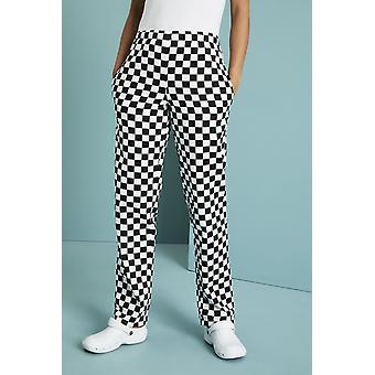SIMON JERSEY Unisex Drawstring Chef's Trousers, Black And White Large Check
