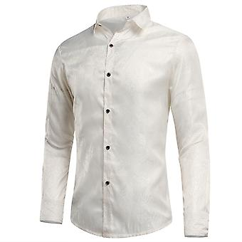 YANGFAN Men's Embroidered Pattern Lapel Long-sleeved Shirt