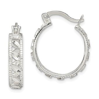 925 Sterling Silver Sparkle Cut Oval Hoop Brincos Joias Joias Para Mulheres - 2,8 Gramas