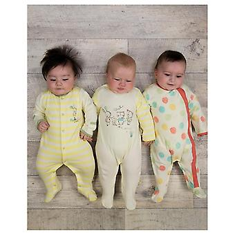 The Essential One Unisex Baby Polka Dot Sleepsuits - 3 Pack