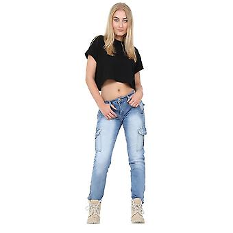 Slim Stretch Faded Denim Combat Cargo Jeans Cropped Short Leg