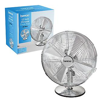 Benross 12 Inch Chrome Desk Fan 35W
