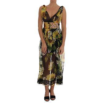 Dolce & Gabbana Multicolor Sunflower Floral Lace Dress