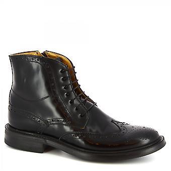 Leonardo Shoes Men's handmade lace-ups ankle boots black brushed calf leather