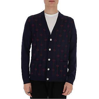 Gucci 576901xkaum4542 Men's Blauw/bourgondisch Wool Cardigan