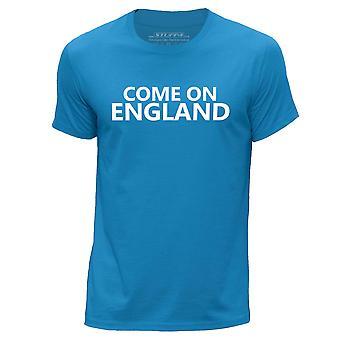 STUFF4 Men's Round Neck T-Shirt/Come On England Football/Blue