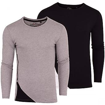 Loyalty and Faith 2 Pack Mens Long Sleeved T-Shirt Basic Plain Cotton Crew Neck Tee Casual Top