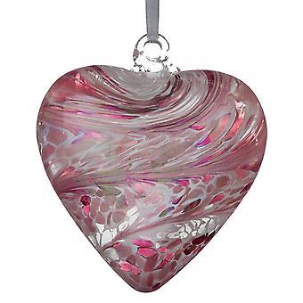 Sienna Glass 8cm Friendship Heart, Pastel Pink