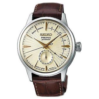 Seiko Watches Ssa387j1 Presage Cocktail Gold Dial, Silver & Brown Leather Automatic Men's Watch