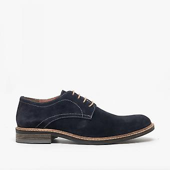 Roamers Arthur Mens Suede Lace Up Derby Shoes Dark Navy