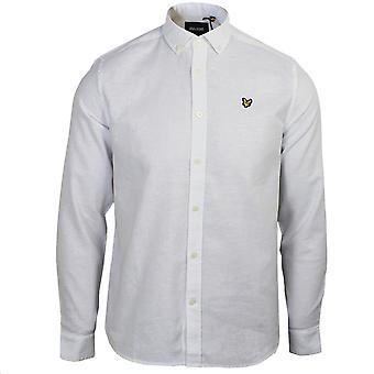 Lyle & scott uomini's camicia di lino di cotone bianco