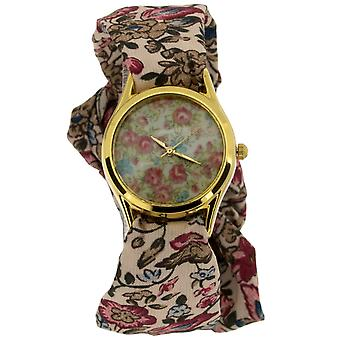 Dames self-tie gele Goldtone bruin & roze bloem lint Fashion Watch SW-1244