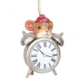 Gisela Graham Mouse Clock Christmas Decoration | Gifts Handpicked