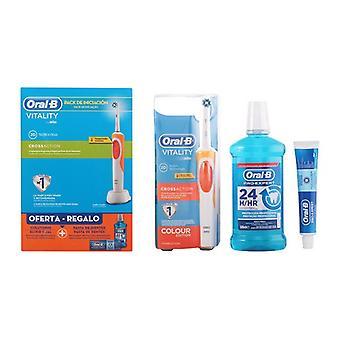 Zahnbürste, Zahnpasta und Mundwasser Set Vitalität Crossaction Oral-B (3 Stück)