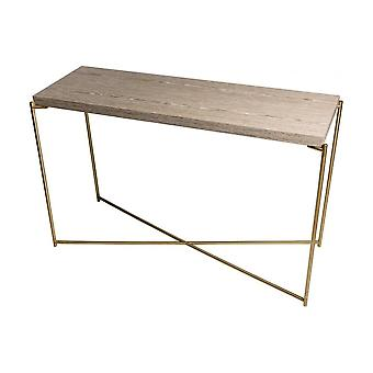 Gillmore Weathered Oak Large Console Table With Brass Cross Base