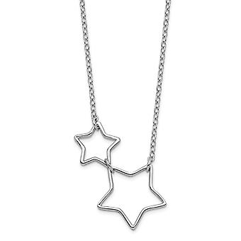 925 Sterling Silver Rhodium plated Cut out Stars With 2inch Ext. Necklace 17 Inch Jewelry Gifts for Women