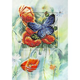 Orchidea Cross Stitch Card Kit - Poppies and Butterfly