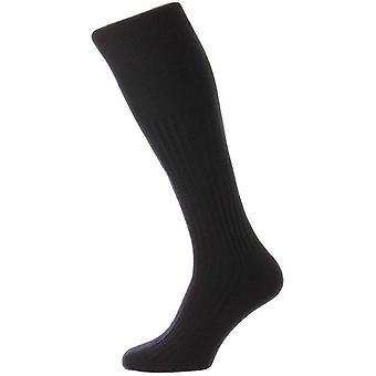 Pantherella Rutherford Merino royale over de kalf sokken-Navy