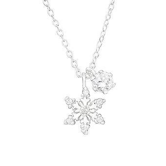 ندفة الثلج - 925 قلادة فضية مرصعة بالجواهر - W36837x