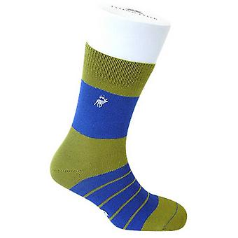 Tyler e Tyler Single listra meias - verde/azul