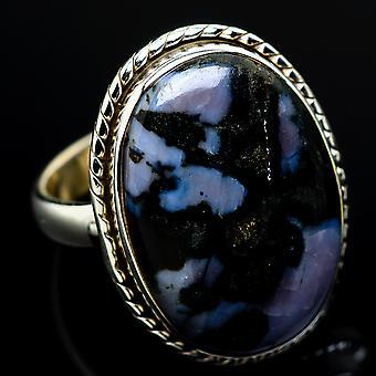 Indigo Gabbro Ring Size 8 (925 Sterling Silver)  - Handmade Boho Vintage Jewelry RING7505