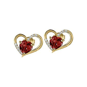 Jacques Lemans - Studs sterling silver plated with garnet - SE-O118H