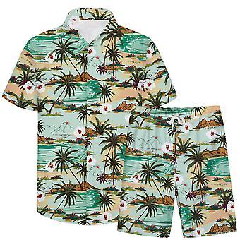 Allthemen Men&s 3D Colorful 2-Pieces Casual Beach Shirt & Shorts