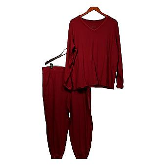 Anybody Women's Petite Pajama Set Cozy Knit & Velour Red A345312