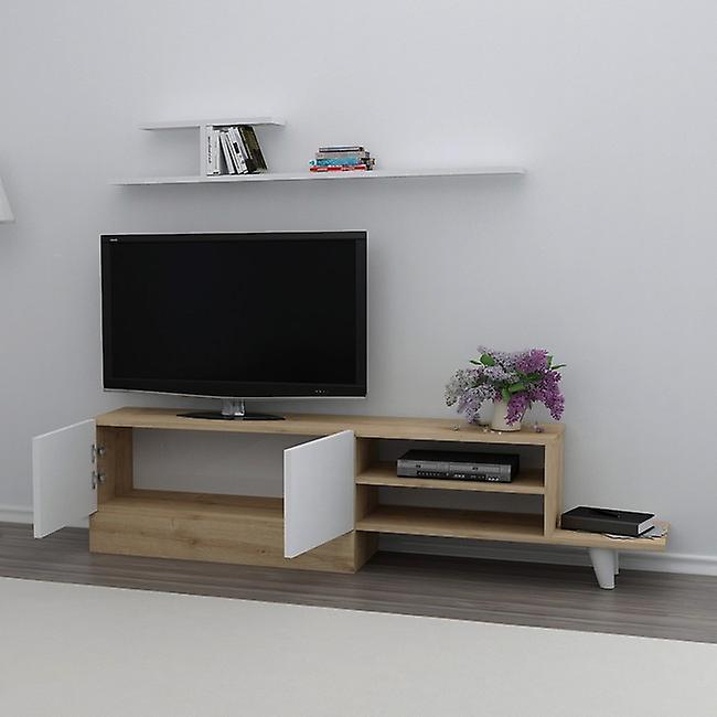 Mobile Porta TV Derin Colore Bianco, Rovere in Truciolare Melaminico, L159,5xP31,5xA40 cm, L120xP14,5xA14,5 cm