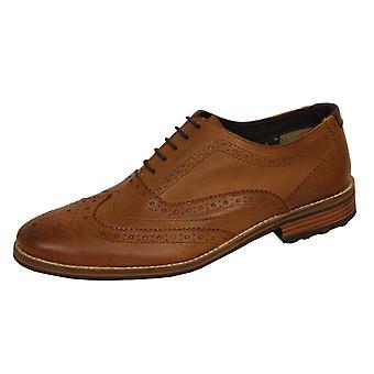 Front austin men's tan lederen brogue schoenen