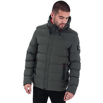 Men's Crosshatch Black Label Kampleys Quilted Jacket in Green