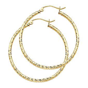 14k giallo oro seta sparkle taglio 1.5mm Rotondo tubo orecchini 35mm gioielli regali per le donne