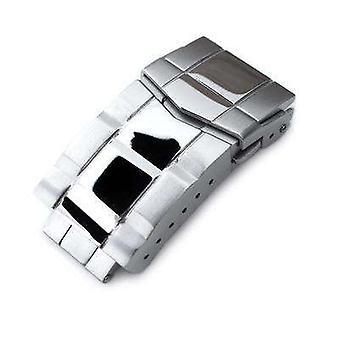Strapcode ur lås 18mm fast 316l rustfrit stål dobbelt låse submariner dykker lås, knap kontrol, poleret & børstet